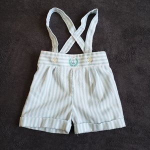 Vintage baby short overalls embroidered 24M